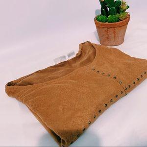 Bohemian Brown Studded Suede Tee Shirt